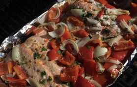 Chili Lime salmon with peppers and onions