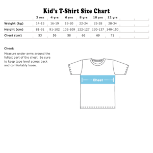 Kid's T-shirt size chart Metric