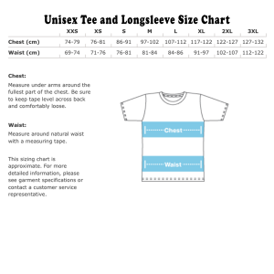 Tee and LS size chart Metric