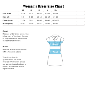 Women's dress size chart metric