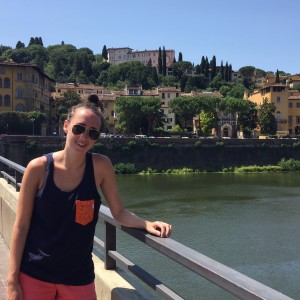 Kayla frolicking along the Ponte Vecchio in Florence, Italy.